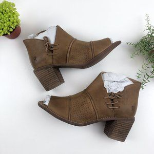 Roan Katherine Open Toe Tan Leather Heel Bootie
